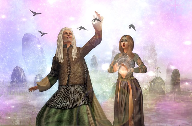 Nimue Learns Magic From Merlin    -contest entry