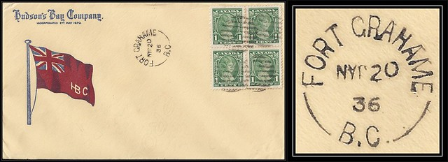 British Columbia / B.C. Postal History - 20 January 1936 - FORT GRAHAME, B.C. (split ring / broken circle cancel / postmark) Hudson's Bay Company Illustrated Cover