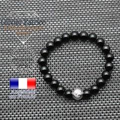 Bracelet onyx et son signe astrologique en argent 925