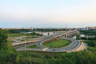 Kuznetskiy Bridge over Tom River in Kemerovo city