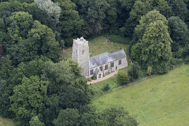 Burlingham church - St Andrew & St Peters - Norfolk UK aerial image
