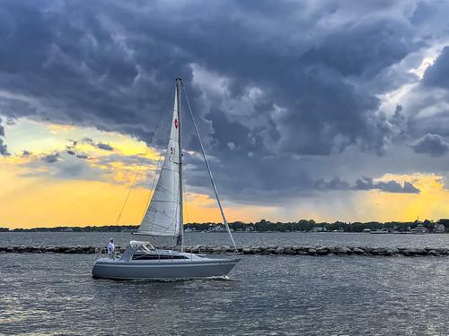 apple greatsouthbay johnklos longisland newyork patchogue boat clouds iphone iphone8 marine sailboat sunset weather unitedstatesofamerica