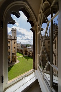 Cambridge through a window, from St John's college