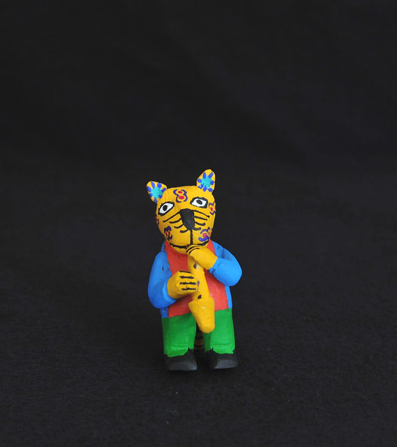 Cat with a Saxophone Oaxaca Wood Carving
