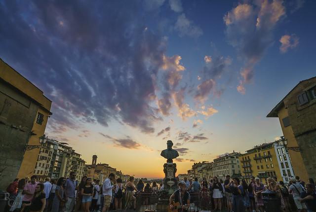 Sunset singing on the Ponte Vecchio