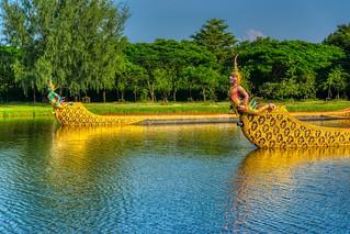 Replicas of the Royal Barges at Muang Boran in Samut Phrakan, Thailand
