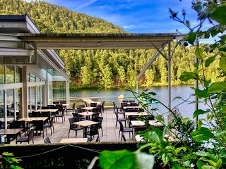 Restaurant terrace at lake Hechtsee in Tyrol, Austria