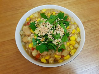 Quinoa-Corn 'Chowder' with Limas and Aji