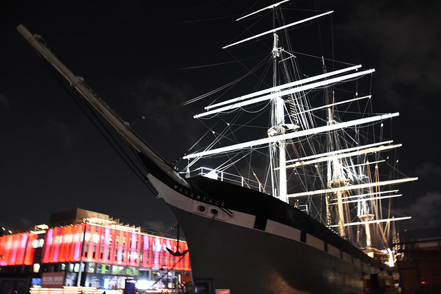 Picture Of Tall Ship Wavertree Taken At the South Street Seaport At Night In New York City. Photo Taken Friday August 16, 2019