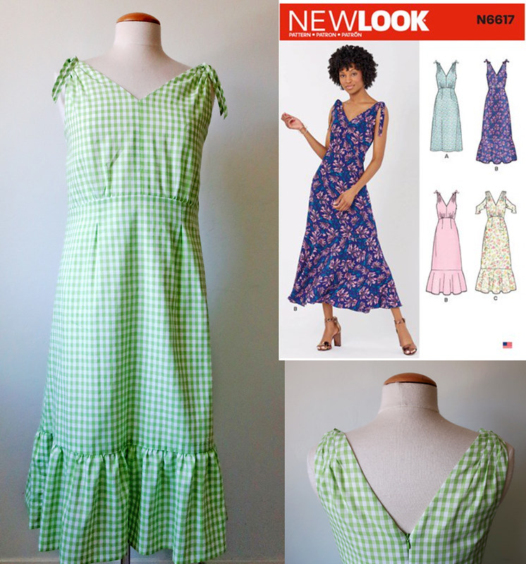 green gingham dress composite