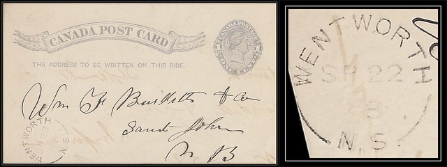 Nova Scotia / N.S. Postal History - 22 September 1888 - WENTWORTH (Cumberland County), N.S. (split ring / broken circle cancel / postmark) via Wentworth Station (Cumberland County), N.S. to Saint John, New Brunswick