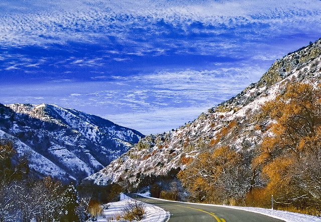 Late autumn in Blacksmith Fork Canyon. Northern Utah