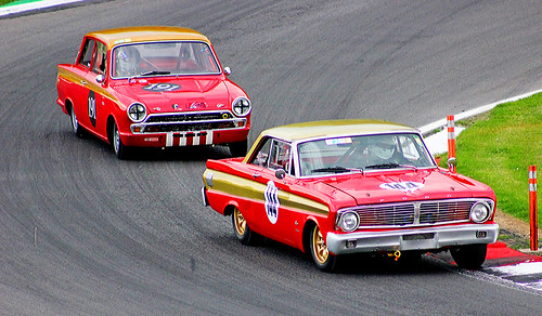 'Ford v Ford'  Lotus Cortina and Falcon Classic Race Cars,Masters Historic Racing,Brands Hatch,Kent.