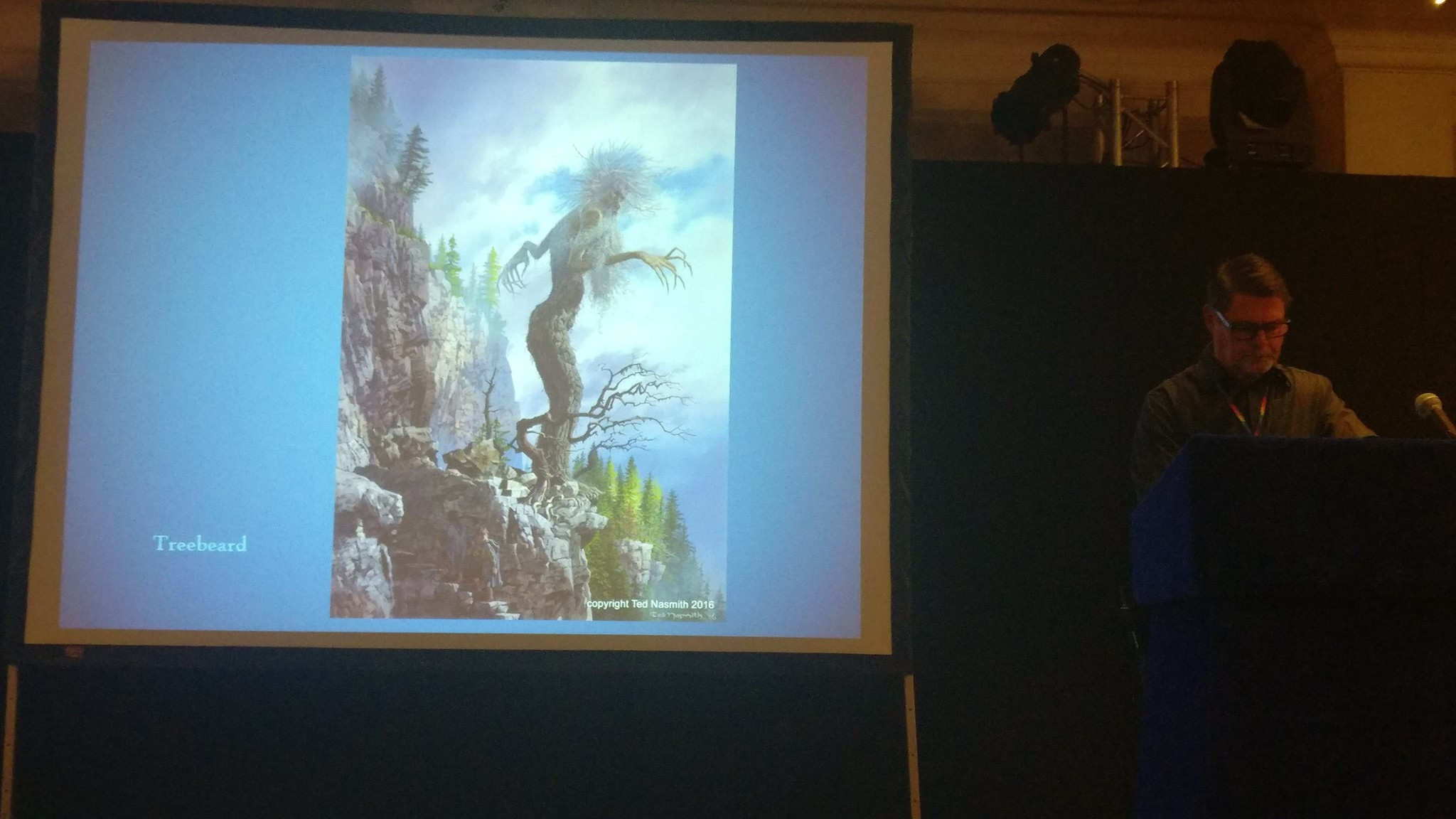 Ted Nasmith showing one of his awesome drawings of Treebeard