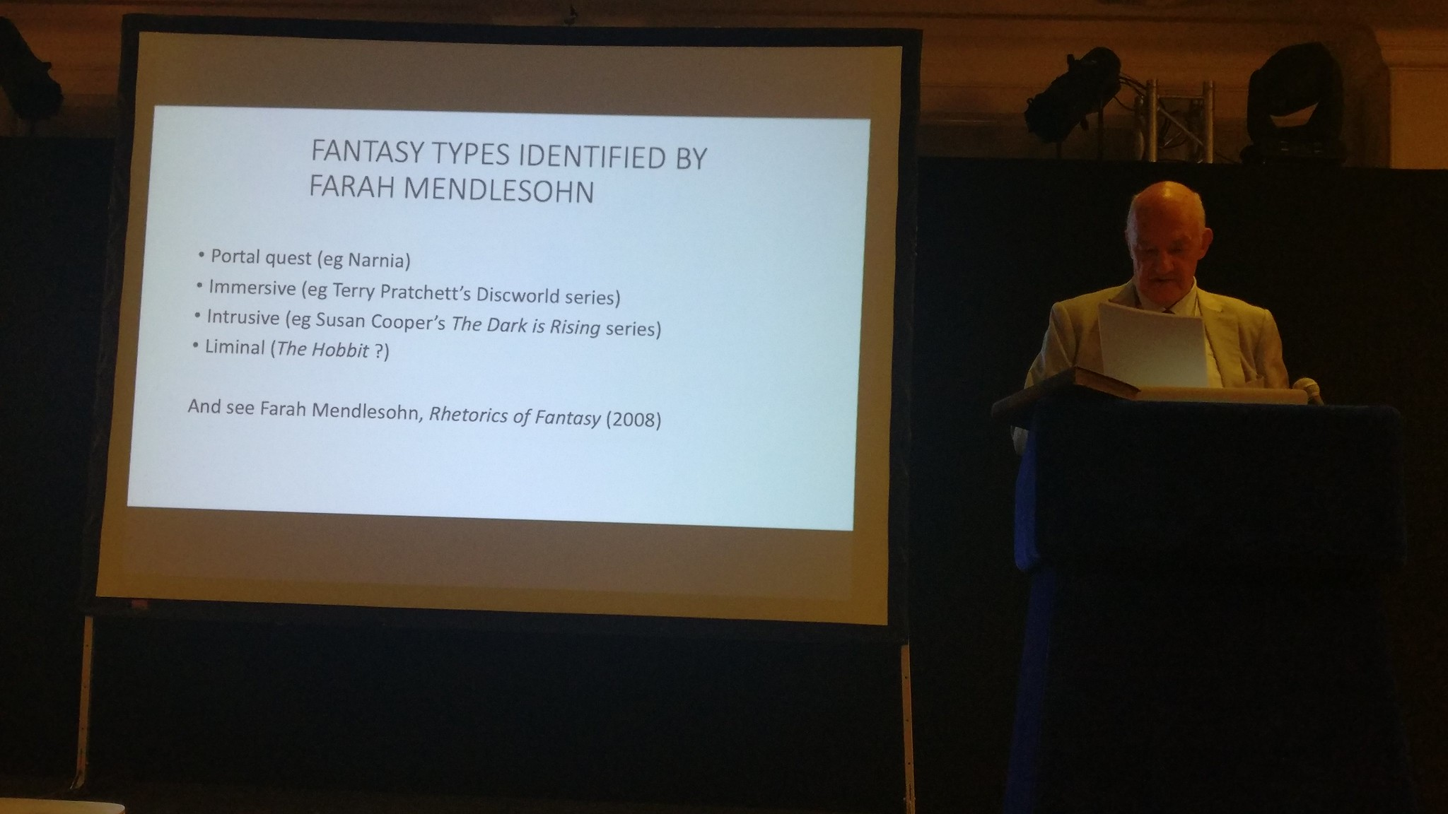 Tom Shippey explaining the fantasy types identified by Farah Mendelsohn