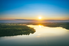 Sunset | Kalviai lake | Lithuania aerial