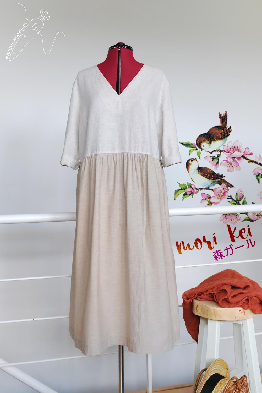 blog, marchewkowa, szycie, krawiectwo, Wrocław, len, lumpeks, upcycling, recyclink, linen, Mori style, Japanese dress, oversized