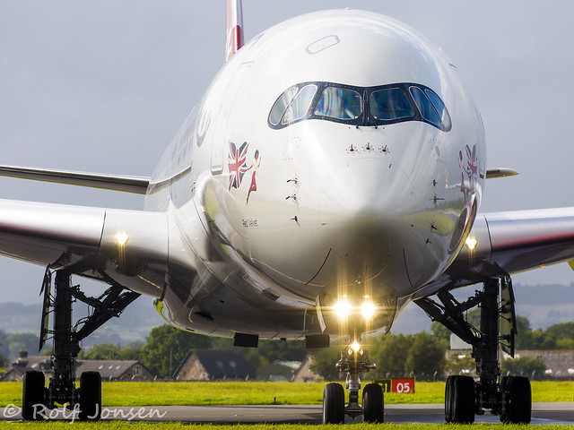 G-VLUX Airbus A350-1000 Virgin Atlantic Glasgow airport EGPF 18.08-19
