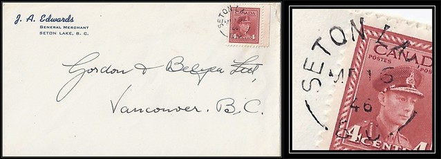 British Columbia / B.C. Postal History - 16 March 1946 - SETON LAKE, B.C. (split ring / broken circle cancel / postmark) to Vancouver, British Columbia