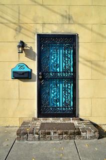 Blue Door with Ironwork