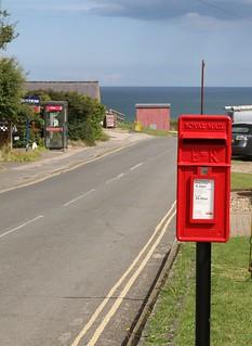 YO14 51 , an E2R Machan Lamp post box at  Flamborough Head
