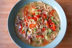 CHICKEN AND UDON IN COCONUT/CHILI SOUP