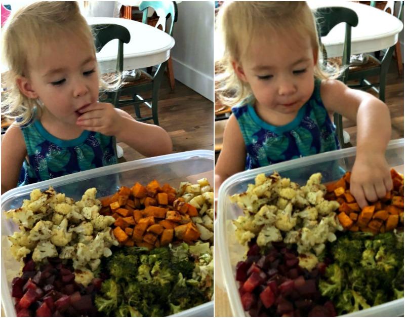 eating roasted veggies