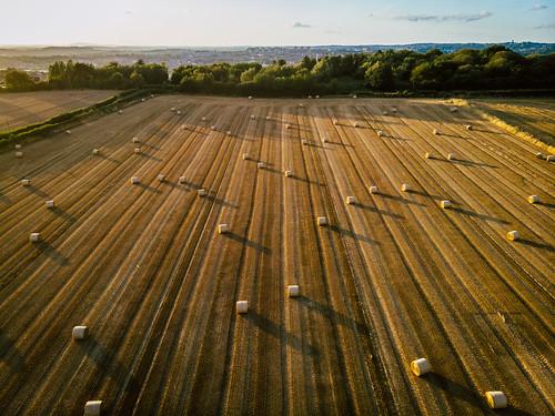 dji mavic air drone landscape sunset hay bale england bales