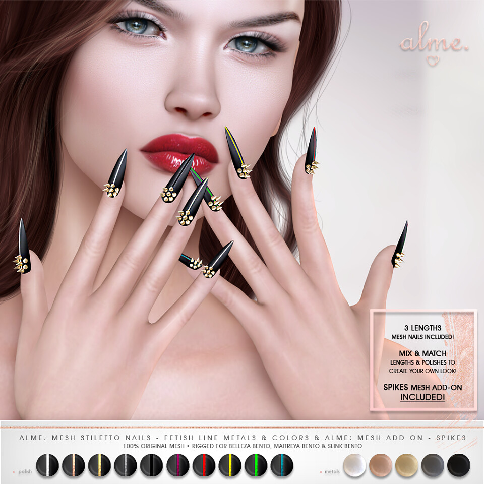 "Alme for Fetish Fair-""Alme Mesh Stiletto nails ""Fetish Line Metals & Colors"" & Add On//Spikes"" ♥"