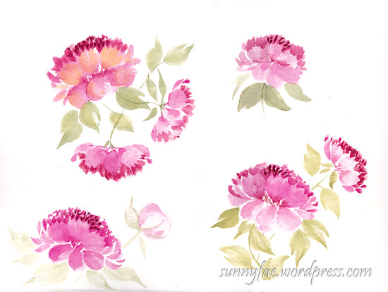 watercolour peony esther peck class