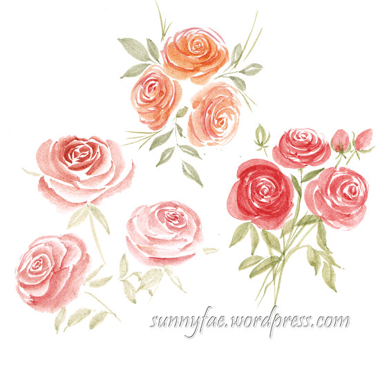 watercolour rose sprays