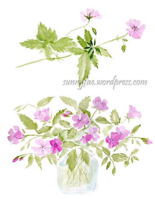 geraniums in a jar