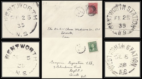 Nova Scotia / N.S. Postal History - 25 February 1935 / 5 December 1938 - WENTWORTH (Cumberland County), N.S. (split ring / broken circle cancel / postmark) via Wentworth Station (Cumberland County), N.S. to Toronto, Ontario, Canada