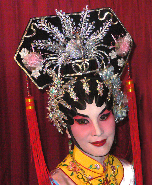 Qing Dynasty headgear , Chinese opera performance in Malaysia.
