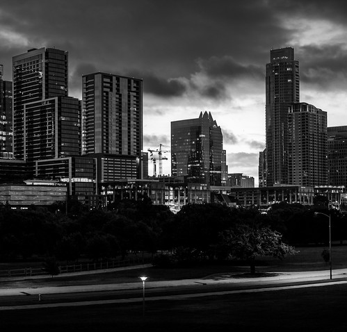 austin austintexas downtown downtownaustin texas city cityscape panoramic skyline skyscraper dawn morning sunrise monochrome blackandwhite bw
