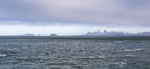 Bay Bridge, Alcatraz and San Francisco Skyline