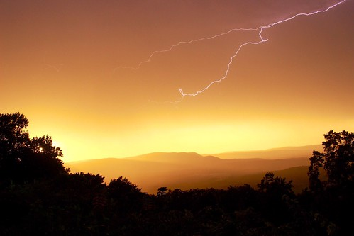 Storm at sunset from Skyline Drive