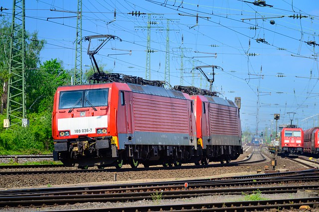 Double traction ... two Deutsche Bahn BR189 without train seen in Koblenz, Germany