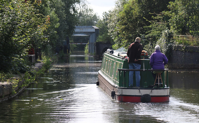 18th August 2019. Annie approaches the Barton Swing Aqueduct over the Manchester Ship Canal, Barton-upon-Irwell, Greater Manchester