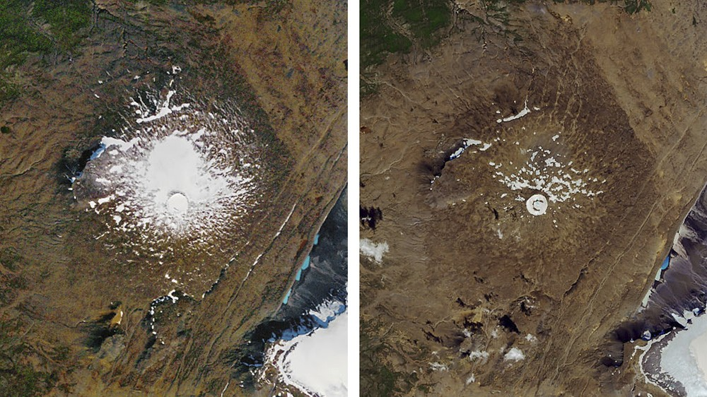冰島「Ok」冰川在1986年(左)與2019年8月(右)的差異,顯示其驚人的消逝速度。(圖片來源:NASA/AP)