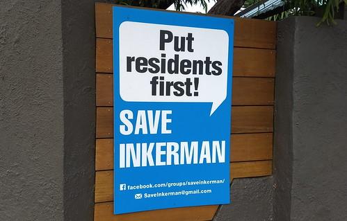 Save Inkerman sign on fence, Caulfield