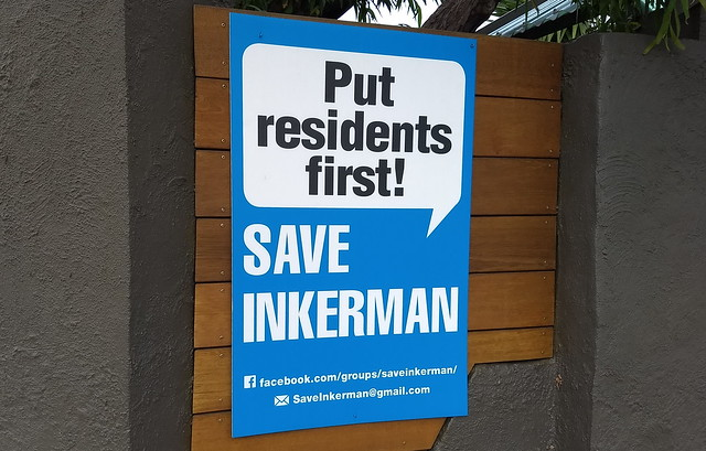 Save Inkerman sign on fence, Caulfield