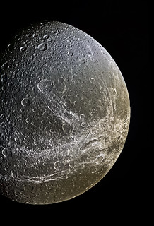 Dione as Cassini approaches (Enhanced & Enlarged)