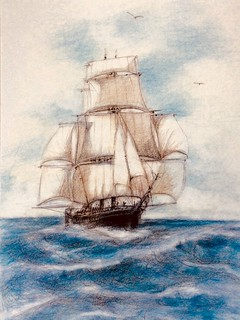 Gathering the Wind. Coloured pencil drawing on white card by jmsw.