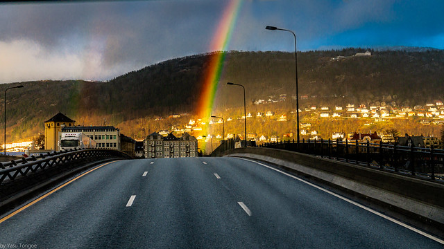 Sunset rainbow appeared while arriving into Bergen, Norway- 2a