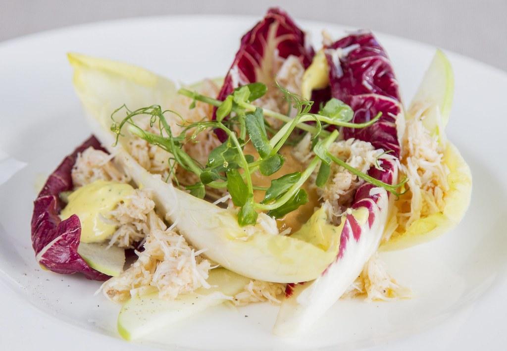 Crab chicory apple salad
