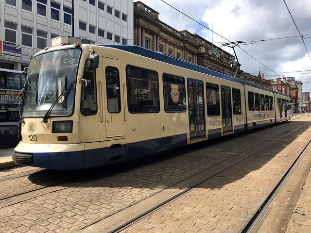 Sheffield Supertram #120, Cutler's Hall 2019