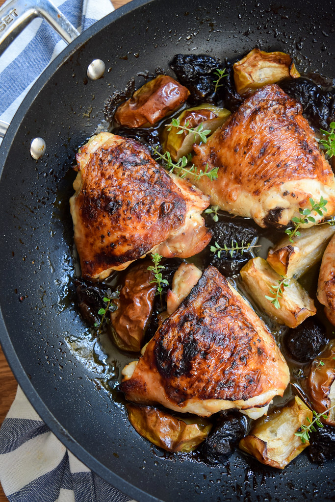 One Pan Chicken with Apples and Prunes