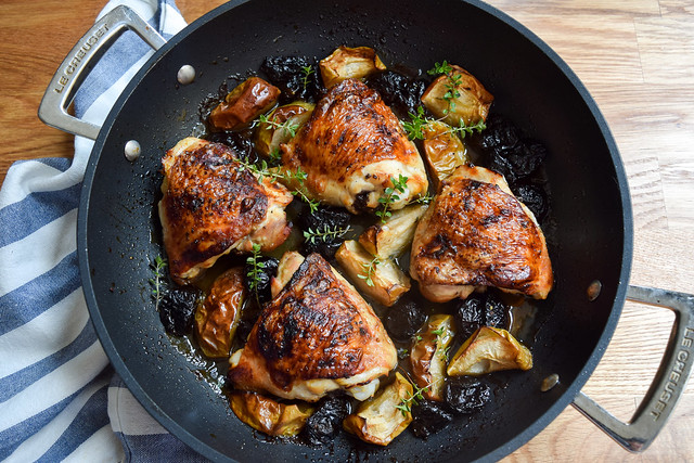 One Pan Chicken with Apples & Prunes