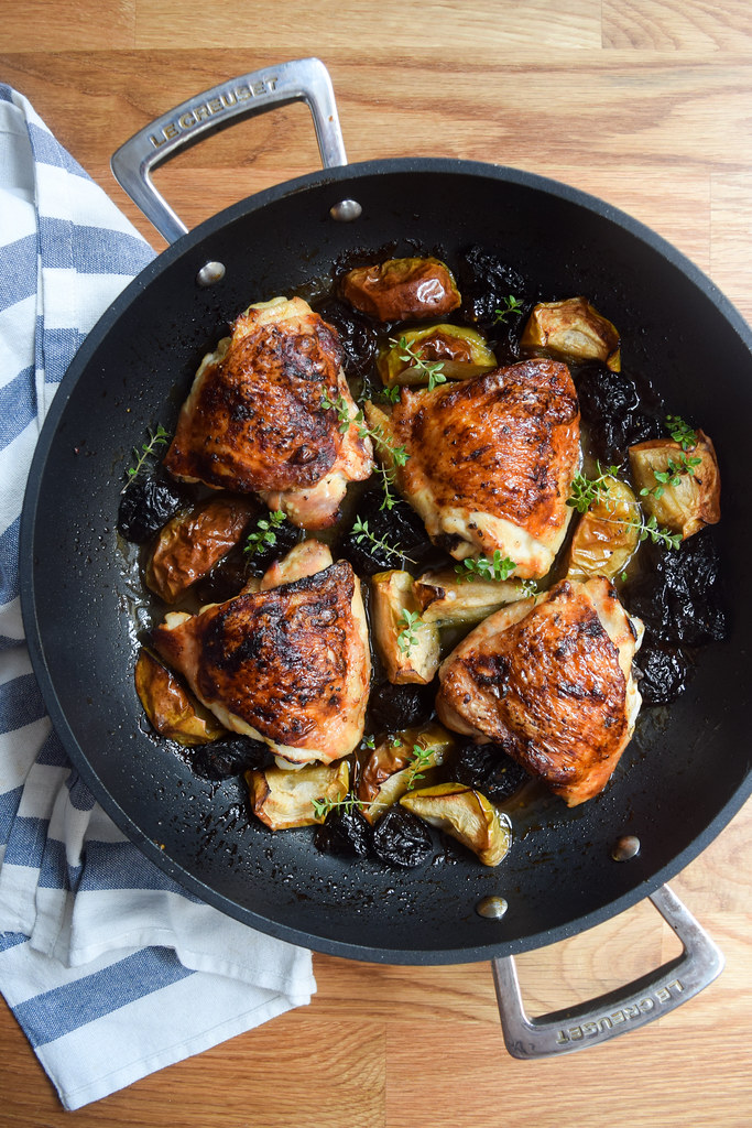 One Pan Autumn Chicken with Apples and Prunes